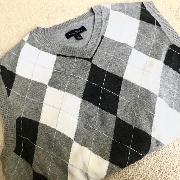 cf8743240a59 Club Room Sweaters | Mens Cotton Argyle Vneck Sweater Vest | Poshmark